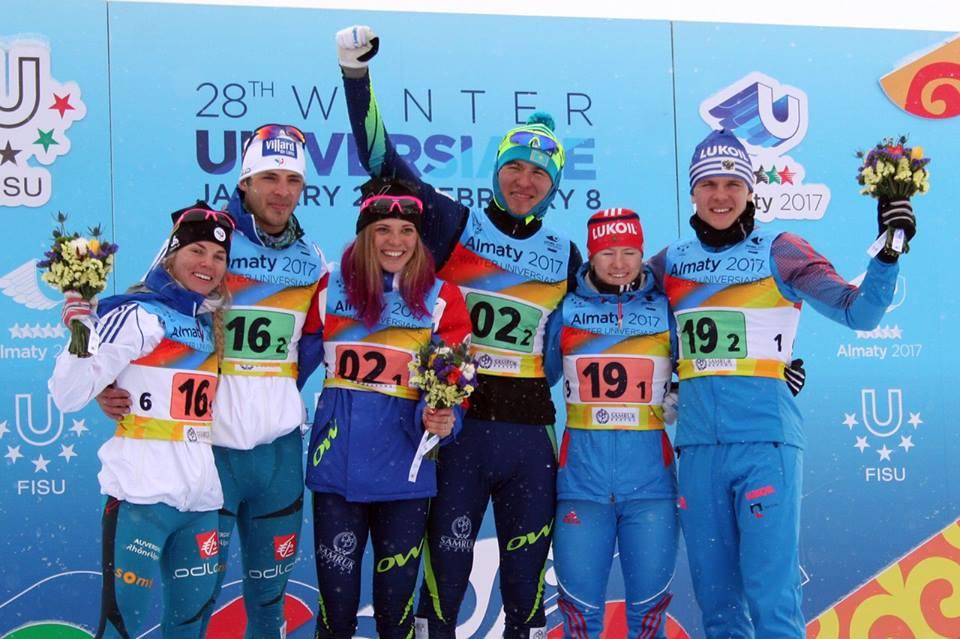 Анна Шевченко и Олжас Климин на Универсиаде-2017, командный спринт